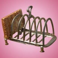 Antique German kitchen miniature pewter toast rack holder