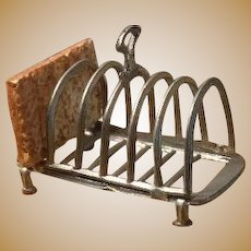Antique German kitchen miniature pewter toast rack holder