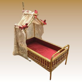 Antique German ormolu miniature half tester Faux Bamboo doll house bed