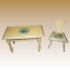 Antique German doll house miniature kitchen Delft table chair