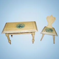 Antique German doll house miniature kitchen Delft table chair