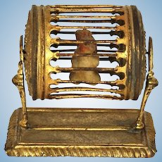 Antique German doll house miniature Ormolu Squirrel Cage