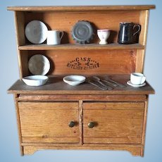 Oak antique doll Cass Kitchen miniature stepback cabinet