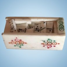 Antique French doll Box miniature doll house Domino's