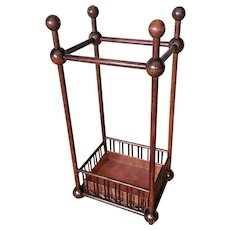 Antique American oak Stick Ball Umbrella stand