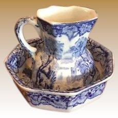 Antique miniature toy dishes 19thc Flow Blue Mason's Pitcher Bowl