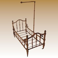 Antique French Faux Bamboo Half Tester doll bed