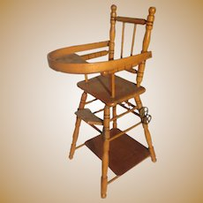 Antique French Faux Bamboo maplewood doll folding High Chair