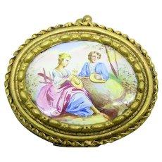 Antique Victorian ENAMELED PORTRAIT Miniature brooch pin