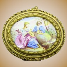 Antique Victorian ENAMELED PORTRAIT Miniature brooch pin