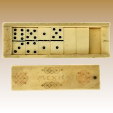 Antique doll miniature Carved Decorated bone Game Dominoes