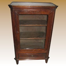 Antique doll miniature cherry mahogany Display Cabinet Bookcase