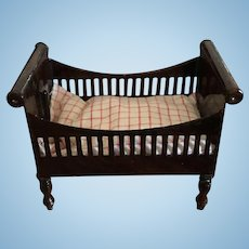 Antique miniature doll house German Rock & Graner tin wood grain painted crib small bed