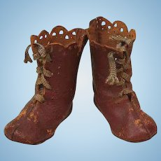 Antique Doll brown high top leather lace up Boots
