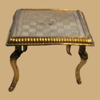 Antique miniature doll house German Ormolu checkerboard small table