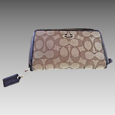 Coach Signature fabric wallet Leather trim