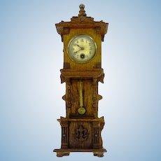 Antique German miniature Grandfather Clock Doll Vignette