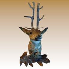Antique miniature doll house metal Deer Head mount