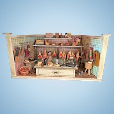Antique German small miniature Butcher shop