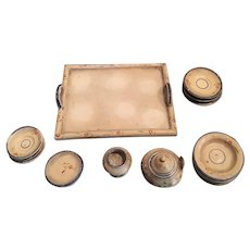 Antique doll house miniature early Treenware wood Tray Floral dish set