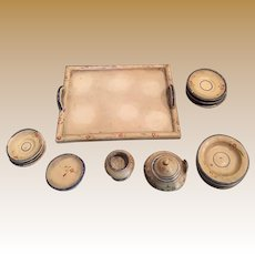 Antique doll house miniature early Treenware wood Floral dish set with Tray