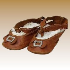 Antique doll brown leather Shoes