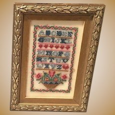 Antique doll house Miniature Sampler needlepoint