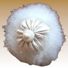 Antique Doll Swan's down Powder Puff Silk Top