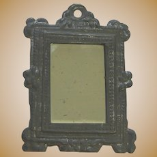 Antique early doll house tin pewter decorative embossed mirror