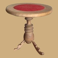 Antique Doll miniature French round wood turned Pedestal table
