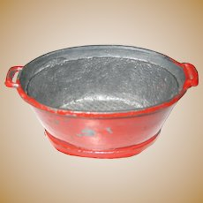 Antique German kitchen miniature Oval red bucket Tub