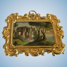 Antique German doll house miniature picture Ormolu decorative small frame