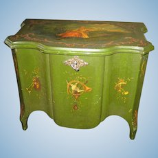 Antique French doll size Vernis Martin green wooden Chest