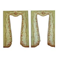 Antique French Aubusson sage green dark pink Tapestry Drapery Panels