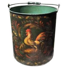 Peter Ompir Signed Folk Art Hand Painted Rooster Metal Bucket