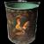 Peter Ompir Signed Folk Art Hand Painted Rooster Metal Bucket