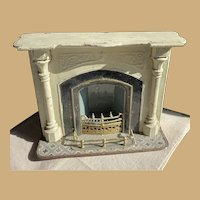 Antique doll house miniature metal brown Marklin fireplace Choice