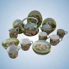 Antique Royal Bayreuth rare childs toy dish set Children Dogs playing