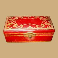 Antique red Leather Italian gilt tooled small Doll Trunk