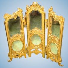 Beautiful ornate antique Gilt metal decorative miniature doll Mirror Screen