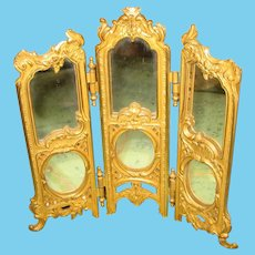 Beautiful ornate antique doll Gilt metal decorative miniature Mirror Screen
