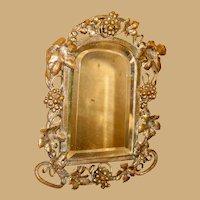 Unusual antique Grape decor doll house miniature beveled Mirror Vignette