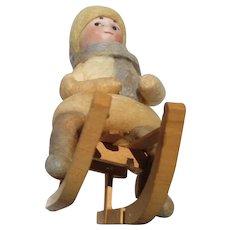 German Antique Christmas Heubach cotton bisque figure Googly sledder