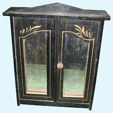 Antique Doll Miniature German Kestner black gilt mirrored doll house Armoire