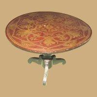 Antique doll house Vignette German miniature gilt large pedestal Table