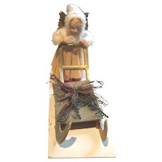 Antique Christmas bisque head Angel Sled