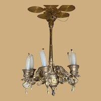 Antique large German miniature gilt metal doll house Candle chandelier Vignette