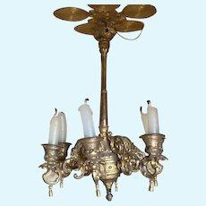 Antique large German miniature gilt metal Candle chandelier