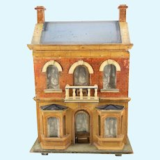 Antique Gottschalk German paper litho blue roof Doll House