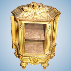 Antique doll French Depose cast metal decorative display Ribbon Vitrine cabinet